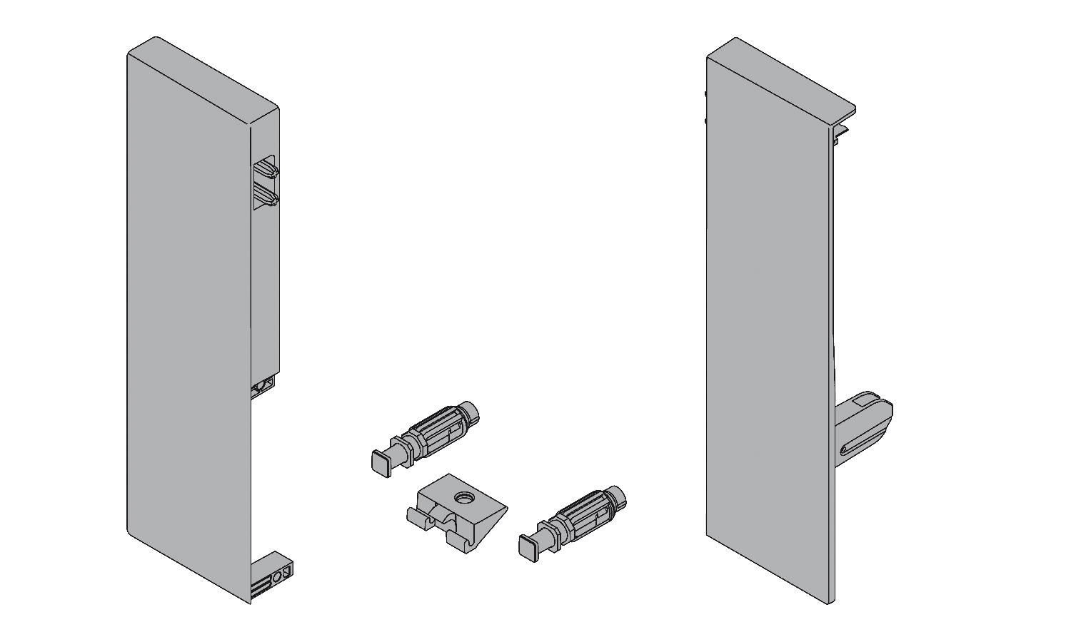 Blum Antaro front fixing brackets for D height inner drawer front L+R grey