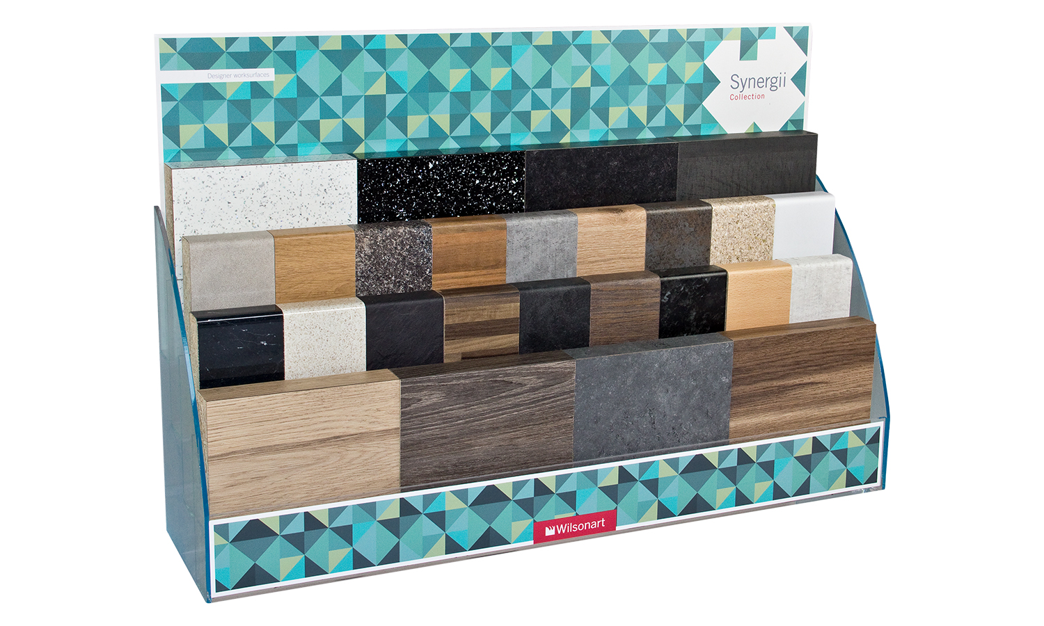 Synergii Laminate Kitchen Worktop Display Stand (26 Blocks & 4 Tier Stand)