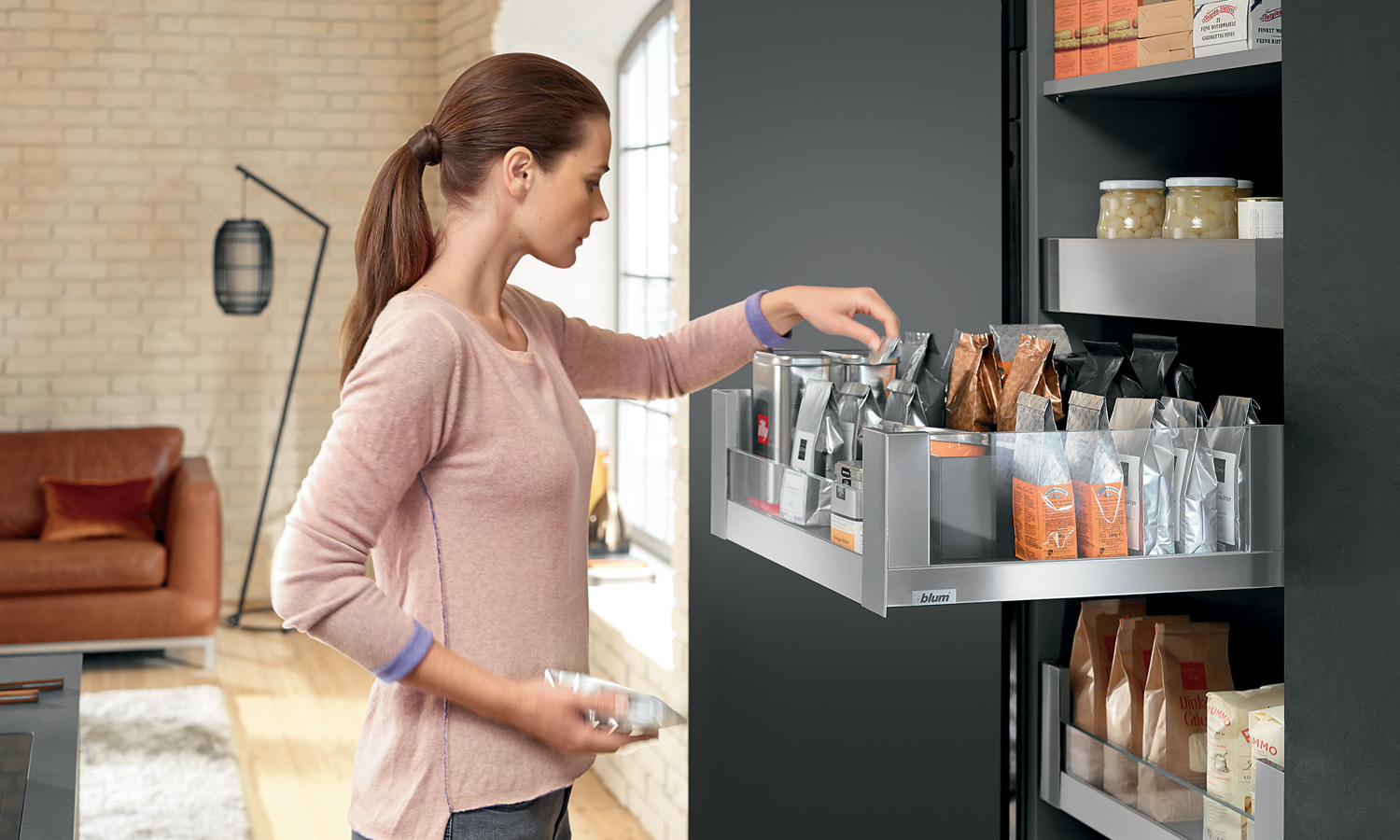 Blum Space Tower Legrabox Free, 400mm wide, Stainless Steel