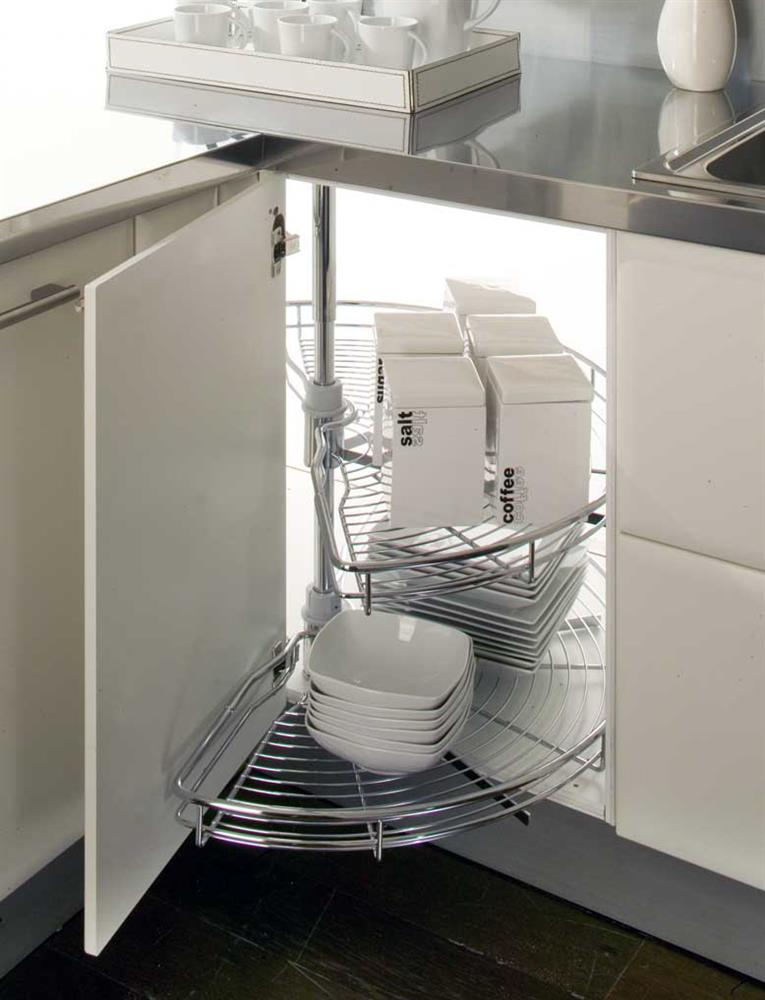 Kitchen half circle corner carousel 800 900corner units for Kitchen corner base units 800mm