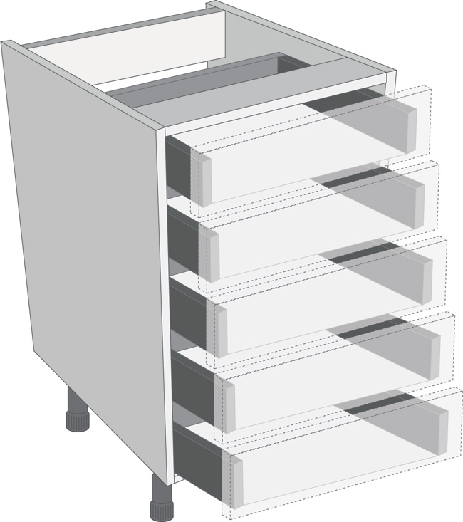 Antaro Metallic Grey 450mm Cabinet Pack, 5 Cutlery Drawers