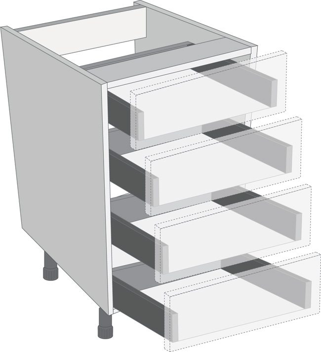 Legrabox Orion Grey 600mm Cabinet Pack, 4 Cutlery Drawers