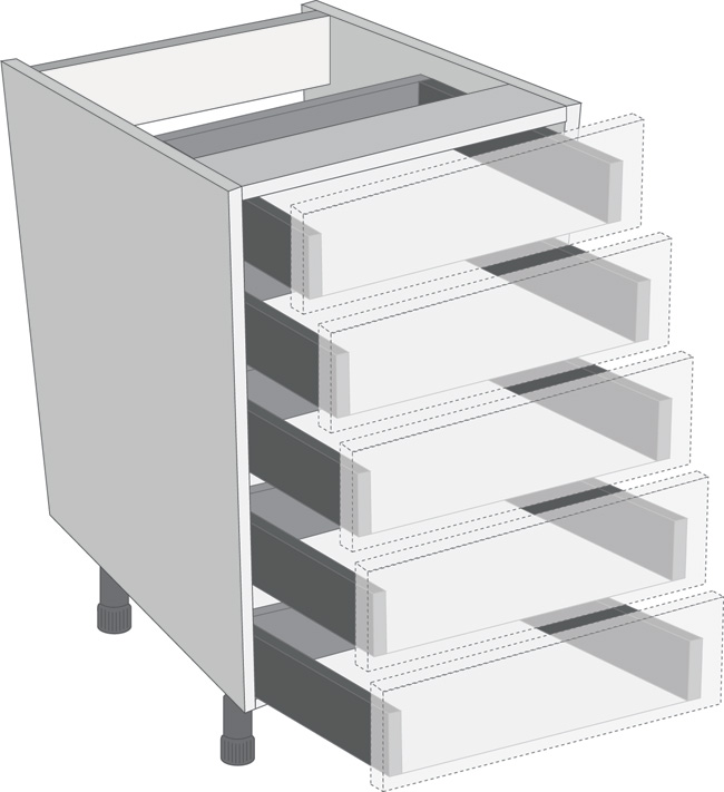 Legrabox Orion Grey 450mm Cabinet Pack, 5 Cutlery Drawers