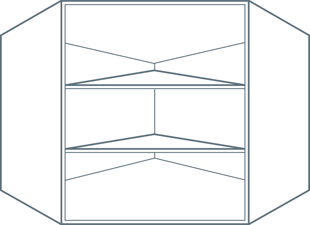 600 x 600 x 900mm Angled Corner Wall Unit Carcass in Light Grey (Flat Pack)