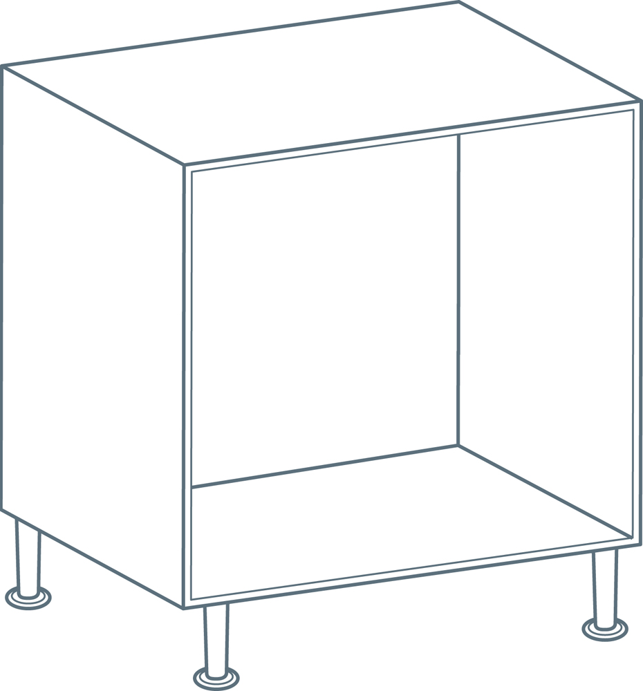 800mm Drawer Base Unit Carcass in White (Flat Pack)