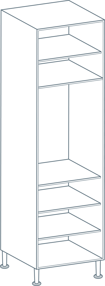 600 x 2150mm Tall Larder Unit Carcass in White (Flat Pack)