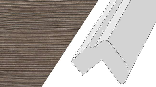 Cornice, 3mtr top fixed round bullnose style Avola New Grey (Brown Grey Avola)