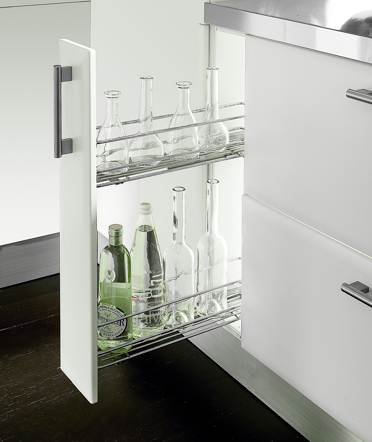 Wirework. Chrome Pull Out Unit 150mm With Two Baskets R/H, Integrated Soft Close