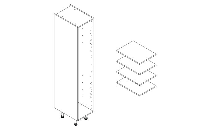400mm Tall Larder Clicbox Kitchen Cabinet In White Hpp