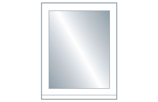 Avanti Opus 22mm Glazed Frame Door (Clear Glass), Hi-Gloss White 715 x 496mm