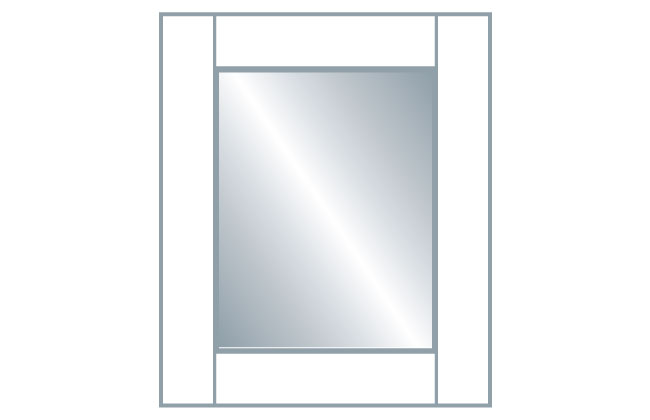 Avanti Quadro 22mm Glazed Frame Door (Clear Glass), Alabaster 715 x 396mm