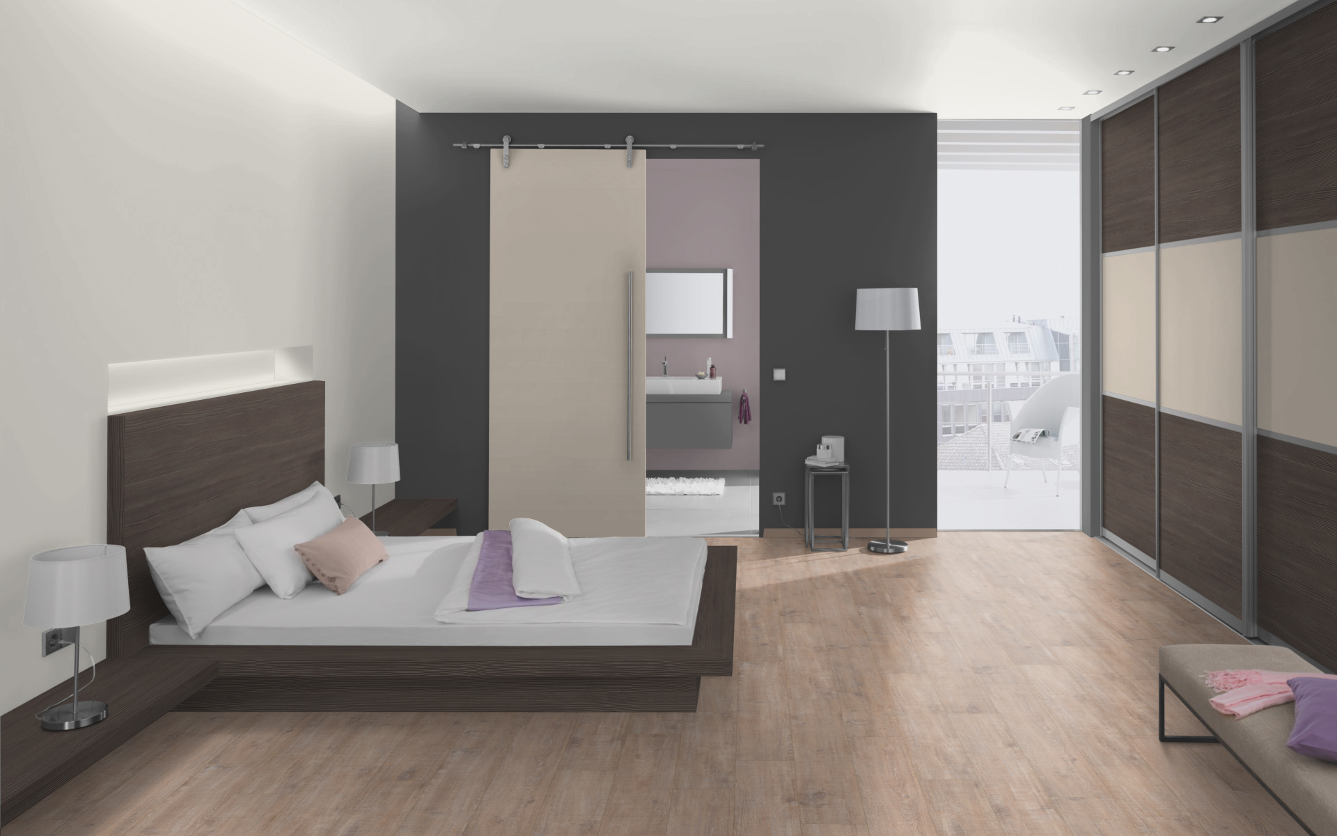 Crema Gloss and Grey Brown Avola Pine