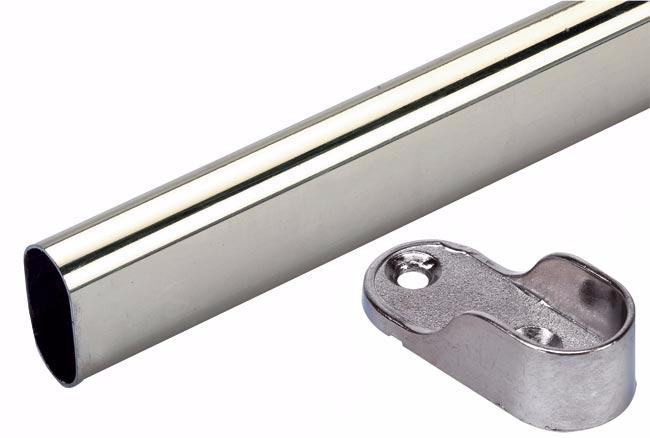 Chrome oval 3mtr wardrobe rail pack, 100 lengths and 700 ends