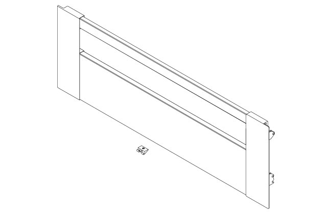 Blum Legrabox 'C' height inner drawer front to suit 1200mm (gallery) s/steel
