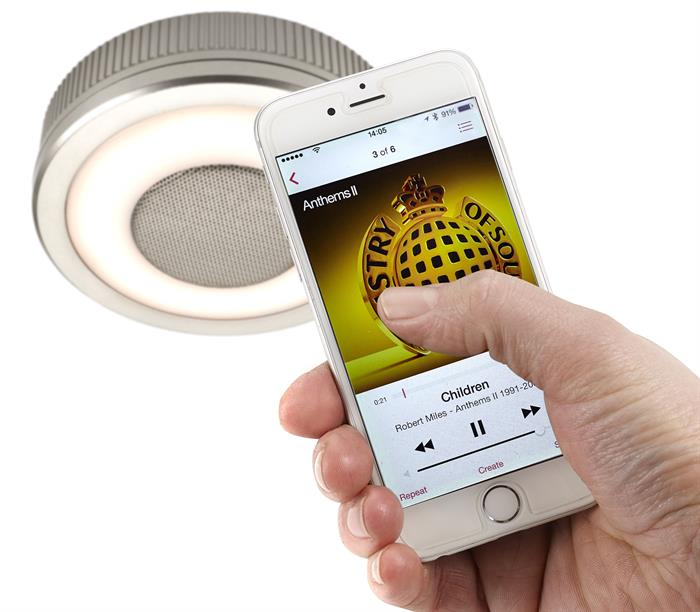 SensioSound spotlights integrate seamlessly with modern devices via Bluetooth.