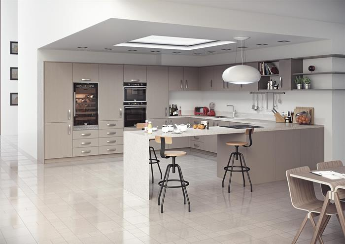 Cluster Ceiling Lights and Stone Grey Aspects Doors