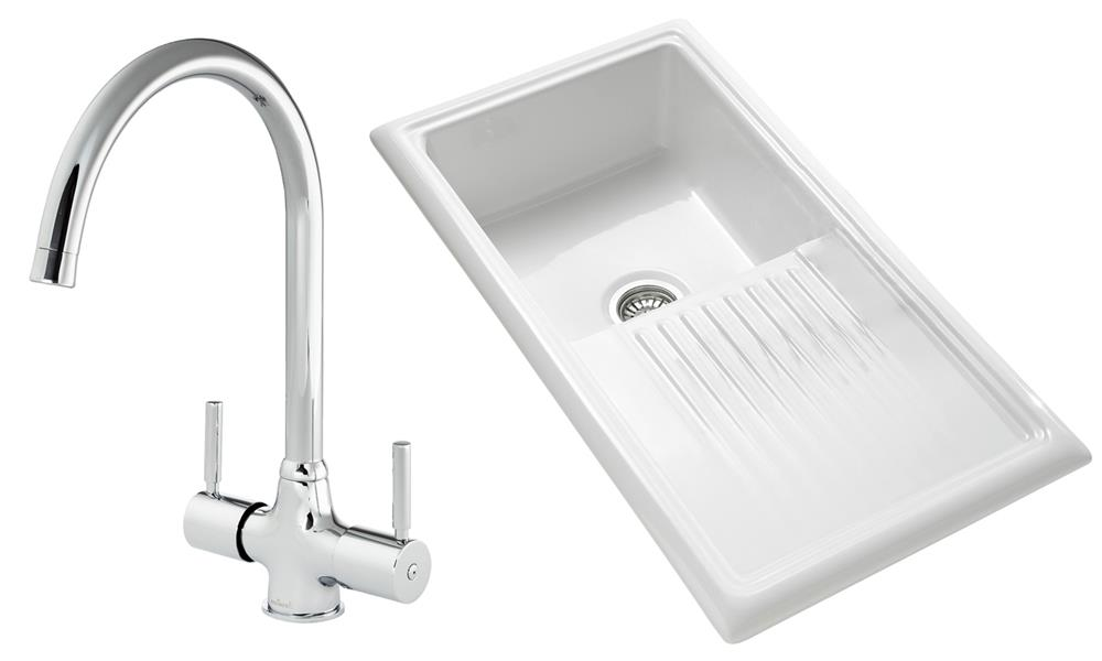 Flat Pack Stainless Steel Sinks : Sink and Tap Pack, Thames Tap and Single Bowl Ceramic Sink, White ...
