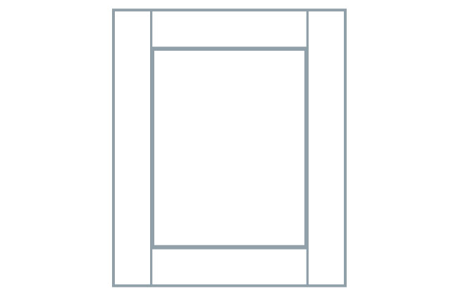Avanti Quadro 22mm Door, Light Grey Grained Paint Effect 1245 x 296mm