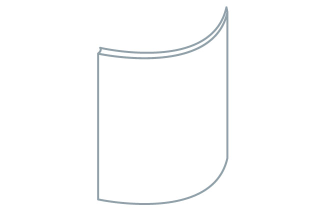 Avanti Quadro 22mm Curved Door, Light Grey Grained Paint Effect 715 x 318mm