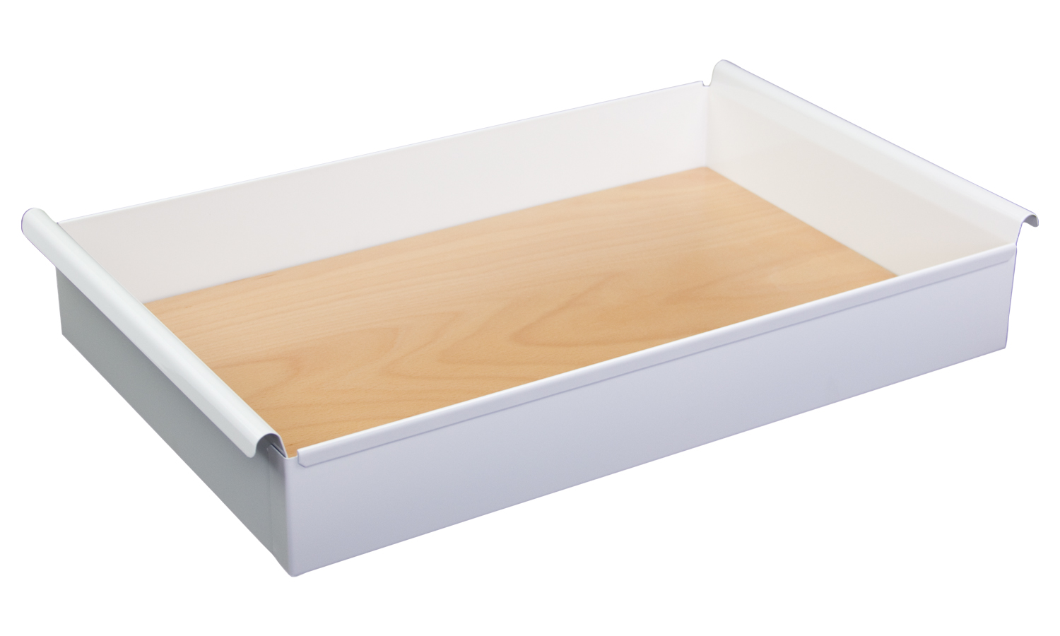 Elite Steel tray with beech base 305x505x86mm(wxdxh). White.