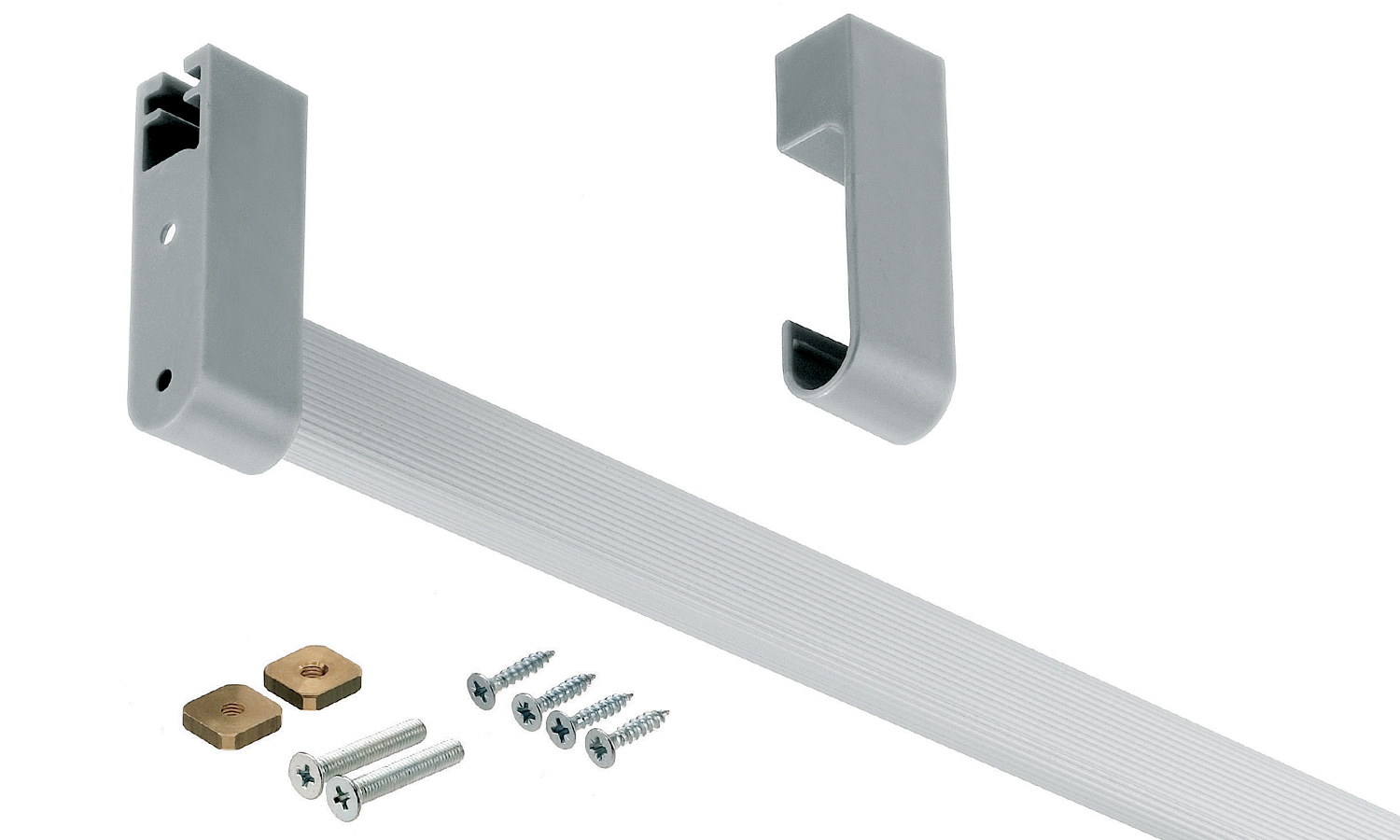 Aluminium Wardrobe Rail Inc Fixing Hardware For 900mm Cabinet