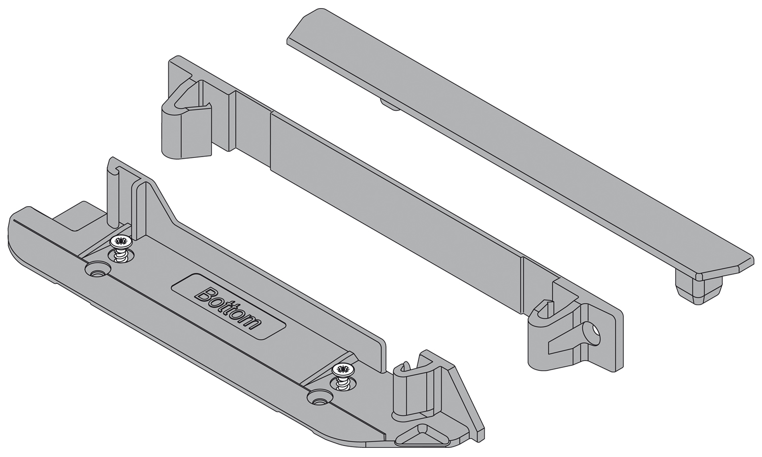Blum Servo-Drive bracket profile back and bottom connector with top end cap